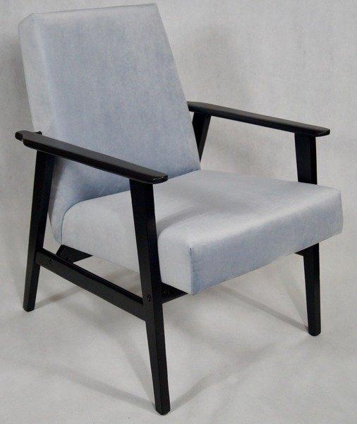 Fotel Klubowy Lata 70 Te Vintage Artdeco Tapicerka Błękitny Szary Pagani 15 Konstrukcja Grafit