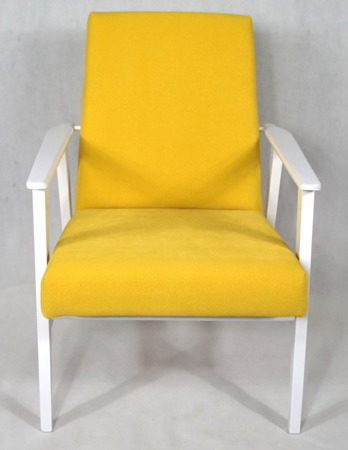 Fotel Klubowy Lata 70-te Vintage ArtDeco biały połysk, tapicerka żółta Forgotex Belagio Hommagic Penta 12