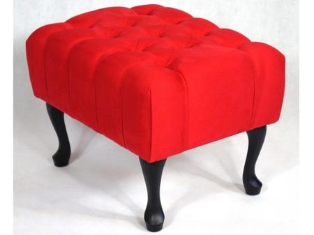 Ławeczka Pufa Pufka Pikowana Czerwona Altara 25 Nogi Ludwik Czarne Półmat Styl Shabby Chic Vintage 50cm