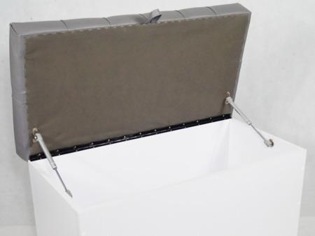 Siedzisko Skrzynia Tapicerowana z Teleskopem Skóra Ekologiczna Szara Fenix 813 Skrzynia biała półmat 80cm/40cm/50cm