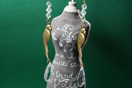 Zawieszka Dekoracja Vintage Złota Papuga z Kryształkiem 160mm